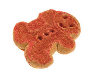 Biscuit de pain d'épice de bonhomme de neige de Noël sur le fond blanc Photos libres de droits