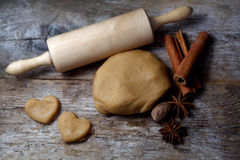 Biscuit dough with spices and tools Royalty Free Stock Images