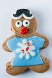 Biscuit drôle de pain d'épice sur un fond blanc Image libre de droits