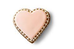 Biscuit en forme de coeur avec le glaçage Images libres de droits