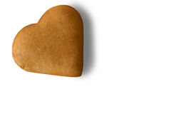 Biscuit en forme de coeur de Brown Photographie stock libre de droits