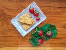 Biscuit et fraise Image libre de droits
