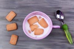 Biscuit et lait Photo stock