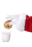 Biscuit et lait de Noël Photos libres de droits