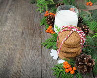 Biscuit et lait de Noël pour Santa Image libre de droits