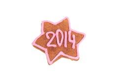 Biscuit fait maison de nouvelle année avec le nombre 2014 Images libres de droits