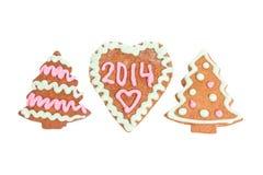 Biscuit fait maison de nouvelle année avec le nombre 2014 Photo libre de droits
