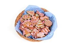 Biscuit fait maison de nouvelle année avec le nombre 2014 Image libre de droits