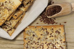 Biscuit with flax seeds Stock Photos