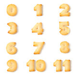 Biscuit font alphabet number. Isolated on white background Stock Images