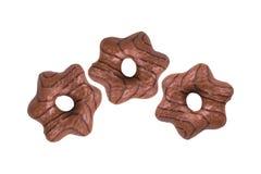 Biscuit formé de chocolat sur le blanc Image stock