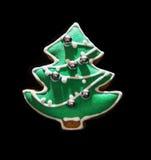 Biscuit formé vert de pain d'épice d'arbre de Noël Photographie stock