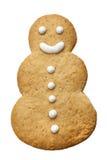 Biscuit heureux fait maison de Noël de bonhomme de neige d'isolement Photo stock