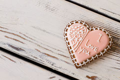Biscuit with icing and inscription. Stock Photography