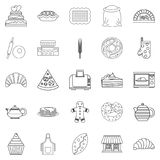 Biscuit icons set, outline style Royalty Free Stock Images