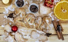 2018 and cookies  with ingredient. 2018 in biscuit with ingredient and christmas decoration on  a plank Royalty Free Stock Image
