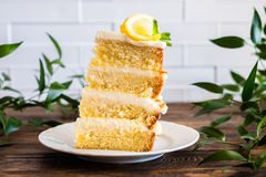 Biscuit layered cake with cream cheese and lemon curd decorated with fresh mint leaves, physalis, lemon slices and green grapes. On a plate, selective focus Royalty Free Stock Image