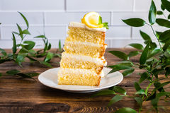 Biscuit layered cake with cream cheese and lemon curd decorated with fresh mint leaves, physalis, lemon slices and green grapes Royalty Free Stock Image