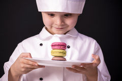 Biscuit Macaron. Chef cooked a colorful biscuit Macaron Royalty Free Stock Photography