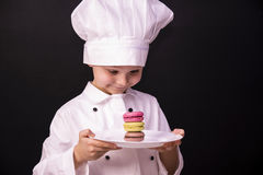 Biscuit Macaron. Chef cooked a colorful biscuit Macaron Royalty Free Stock Photos