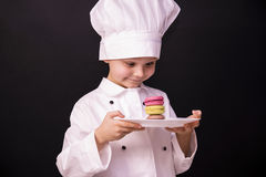 Biscuit Macaron. Chef cooked a colorful biscuit Macaron Royalty Free Stock Image