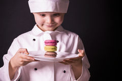 Biscuit Macaron. Chef cooked a colorful biscuit Macaron Stock Photos