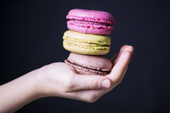 Biscuit Macaron. Chef cooked a colorful biscuit Macaron Stock Image