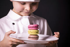 Biscuit Macaron. Chef cooked a colorful biscuit Macaron Stock Photo