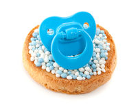 A biscuit with mice. With a blue baby's comforter on top isolated over white Stock Images