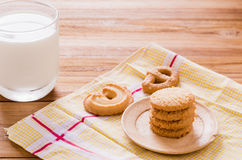 Biscuit and milk Royalty Free Stock Photos