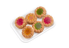 Biscuit with multi colored gelatin on a plastic tray Stock Photography