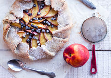 Biscuit with peach and blueberry stock images