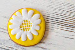 Biscuit with picture of flower. Stock Photo