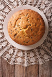 Biscuit Pie With Chocolate Drops On A Plate. Vertical Top View Royalty Free Stock Photos