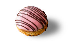 Biscuit with pink icing. Royalty Free Stock Photo