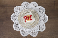 Biscuit on plate and doily Royalty Free Stock Photos