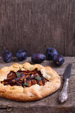 Biscuit with plums. Homemade pastries, biscuit with plums royalty free stock photo