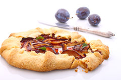 Biscuit with plums. Homemade pastries, biscuit with plums stock photo