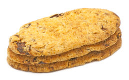 Biscuit with raisins. On white background Stock Image