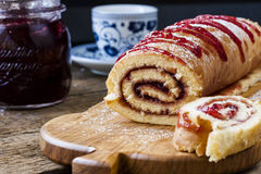 Biscuit roulade with cherry jam Royalty Free Stock Photo