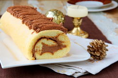 Biscuit roulade with chocolate. Cream horizontal Stock Image