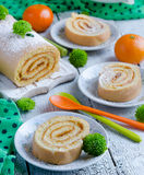 Biscuit roulade with jam Stock Photo