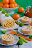 Biscuit roulade with jam Stock Images