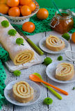 Biscuit roulade with jam Stock Image