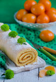 Biscuit roulade with jam Stock Photos