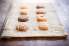 Biscuit on sackcloth Royalty Free Stock Images