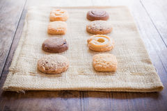 Biscuit on sackcloth Royalty Free Stock Photography