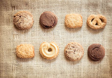 Biscuit on sackcloth Royalty Free Stock Photo