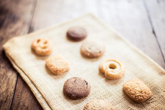 Biscuit on sackcloth Stock Image