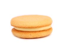 Biscuit sandwich with white filling. Close up. Royalty Free Stock Photography